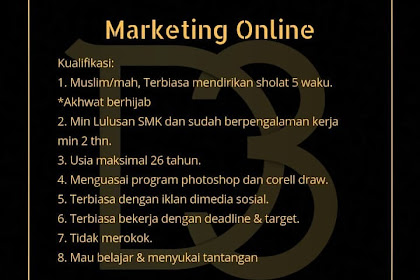Lowongan Kerja Marketing Online DTHREE Penempatan TasikmaIaya