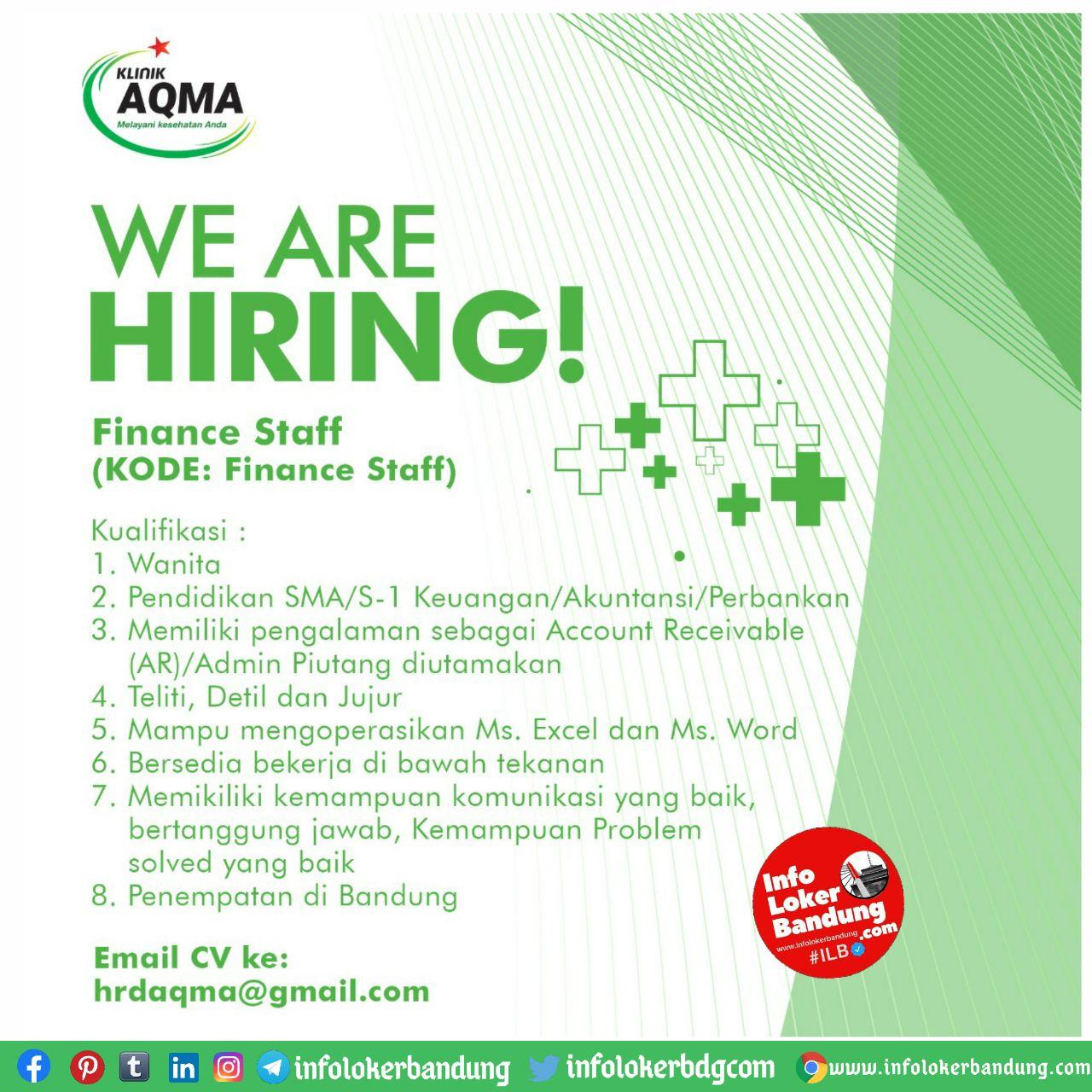 Lowongan Kerja Aqma Klinik Pratama Bandung Oktober 2020