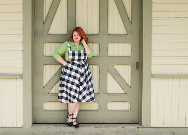 gingham overall dress with green blouse 1950s style plus size outfit by va-voom vintage