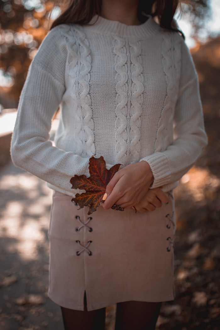 jesienna stylizacja ze spódniczką