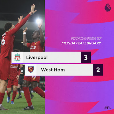 Liverpool 3-2 West Ham, Mo Salah And Mane On Target As Reds Made Stunning Comeback (Video Highlight)