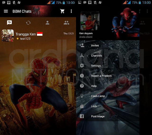 Preview BBM Spiderman - BBM Android V2.10.0.35