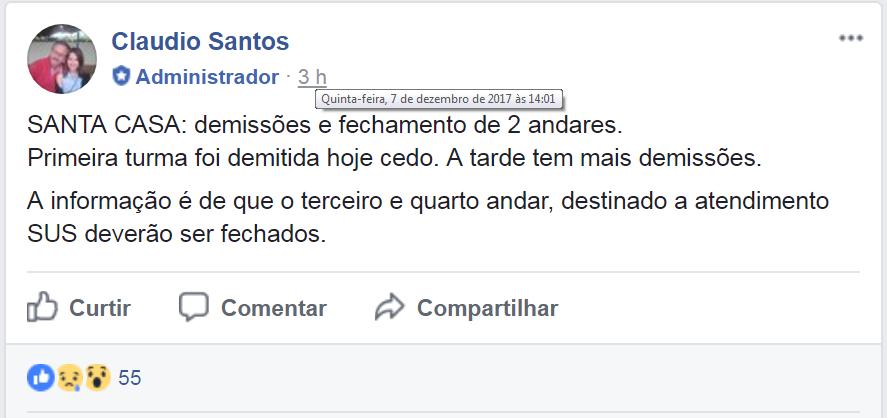 NOTÍCIA DE DEMISSÃO EM MASSA NA SANTA CASA DE BARRETOS REPERCUTE E GERA MEDO E REVOLTA NA CIDADE (CULTURA FM DE GUAIRA-SP)