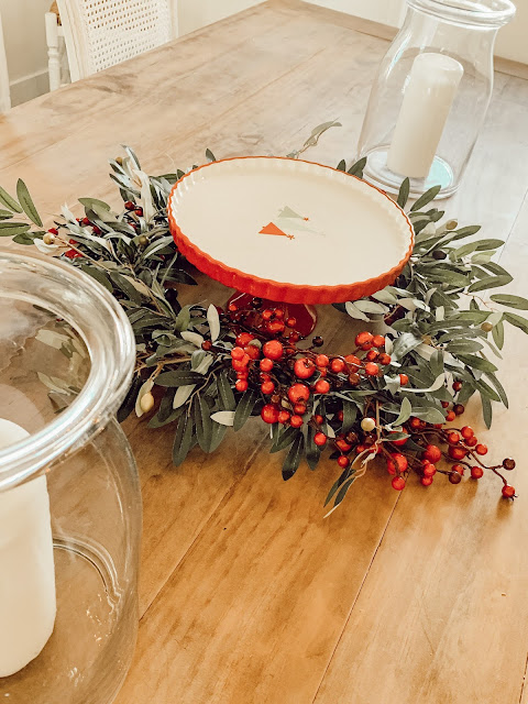 Olive leaf Christmas wreath as a centerpiece