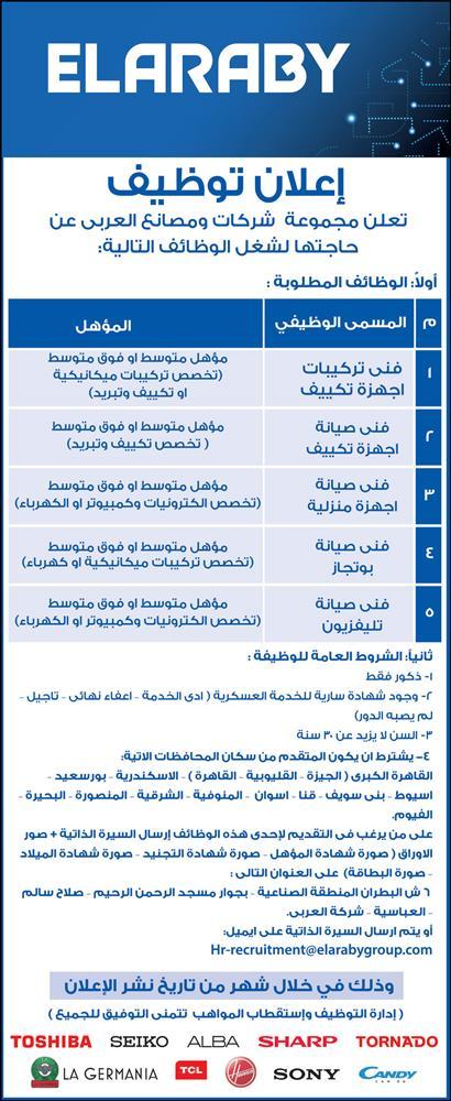 إعلان توظيف    تعلن مجموعة شركات ومصانع العربى