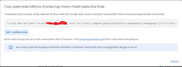 menambahkan kode adsense berikut ke blog di antara <head> dan </head>