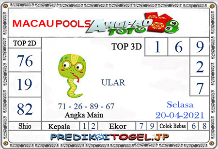 Prediksi Angpao Toto Macau Selasa 20 April 2021