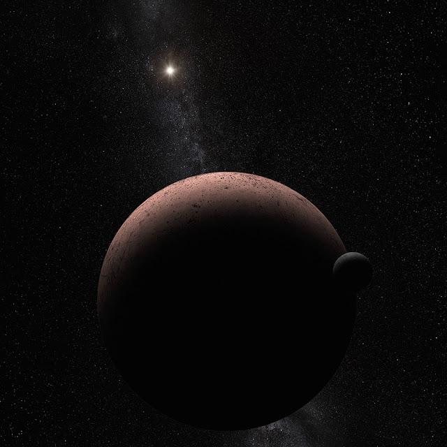 Hình vẽ minh họa của họa sĩ cho thấy hành tinh lùn Makemake và vệ tinh của nó. Bản quyền hình : NASA, ESA, and A. Parker (Southwest Research Institute).