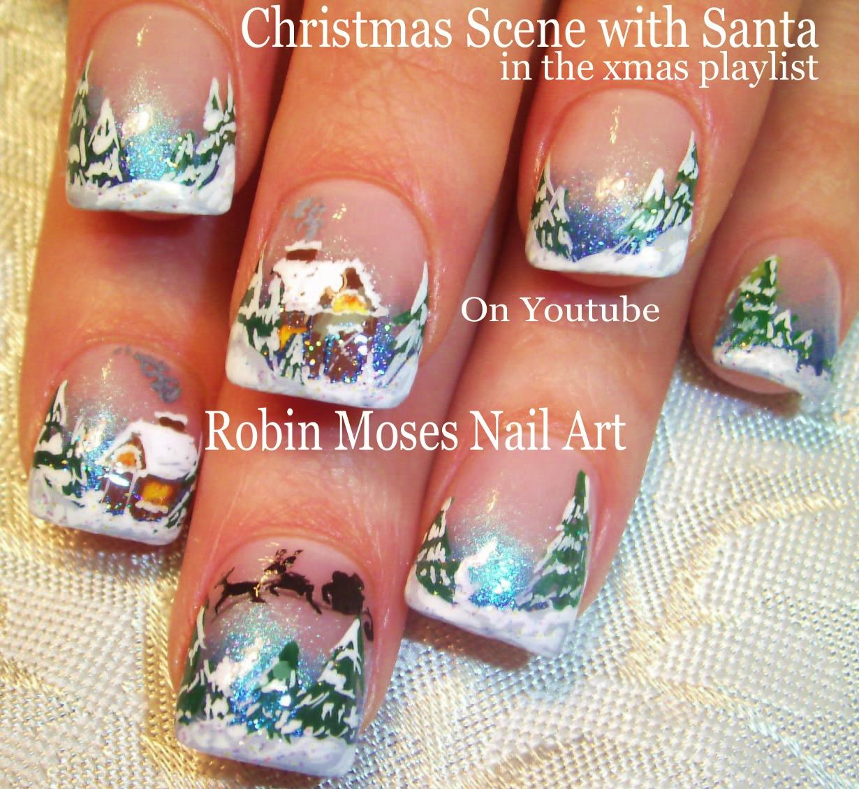 Blue Christmas Nail Art: Nail Art By Robin Moses: Christmas Lights At Night Nail