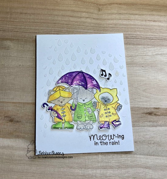 Meow-ing in the rain by Debbie features Newton's Rainy Trio and Raindrops by Newton's Nook Designs; #newtonsnook, #inkypaws, #catcards, #cardmaking, #springcards
