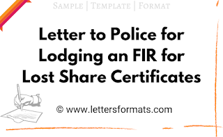 letter to police station for loss of share certificate