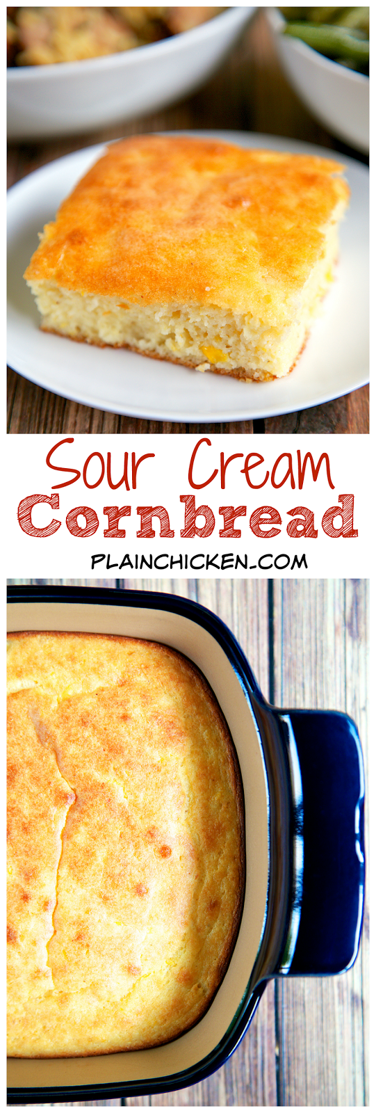 Sour Cream Cornbread Recipe - only 5 ingredients! Ready in 30 minutes! This is seriously THE BEST cornbread recipe! SO delicious and super easy!