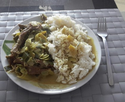 Beef steak with leeks and curry