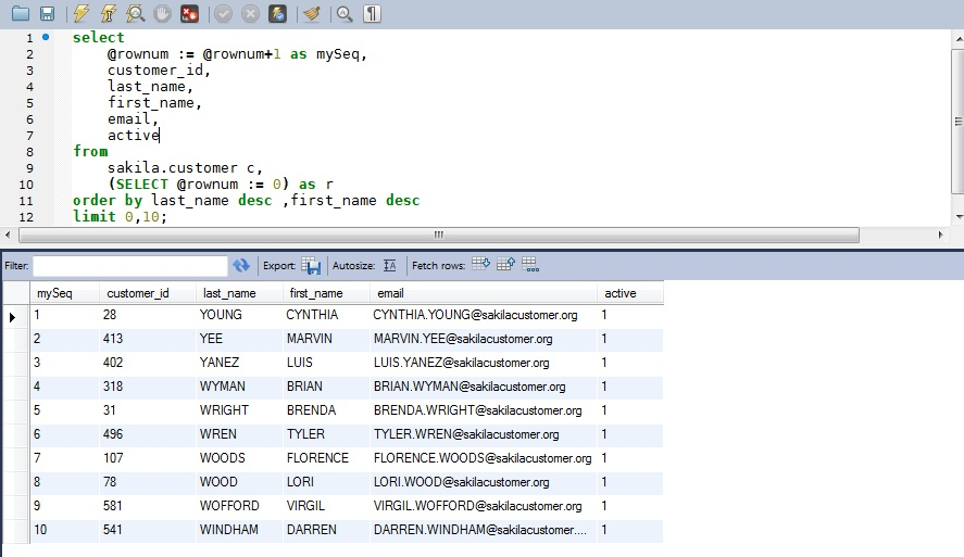 Programmers Sample Guide: MySQL row_number() function