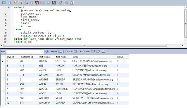MySQL row_number() function display on result set