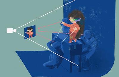 Ilustración de Mirilustra donde explica cómo se ruedan los programas