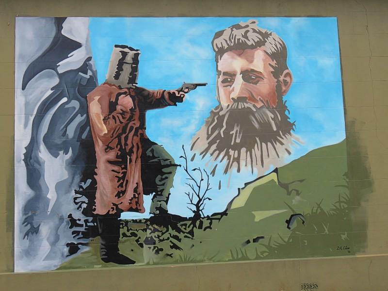 Ned Kelly mural at Benalla