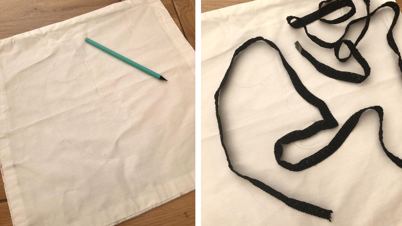 How to make your own DIY cushion cover, featuring a boho style abstract face design. Make your own dupe of the popular high street trend, like H&M, on a tight budget and in around an hour. Simple, easy craft project, perfect for beginners.