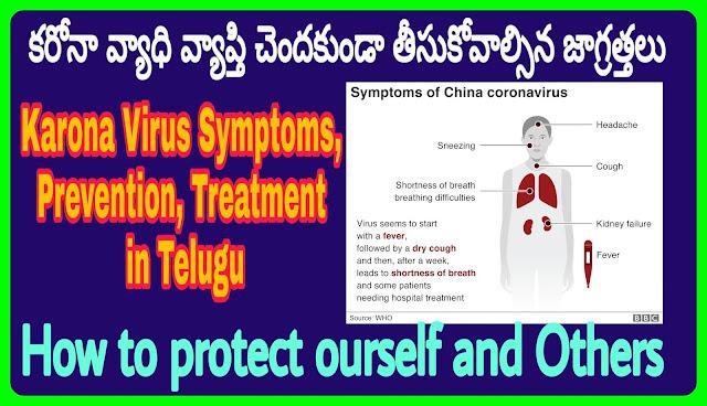 Karona Virus Symptoms, Prevention, Treatment in Telugu