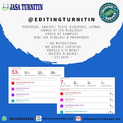 Jasa Revisi Hasil Cek Turnitin Jurnal Skripsi Tesis Disertasi Bahasa Inggris di Indonesia