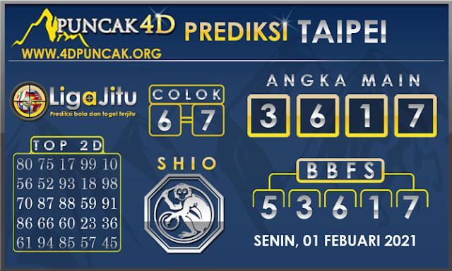 PREDIKSI TOGEL TAIPEI PUNCAK4D 01 FEBUARI 2021