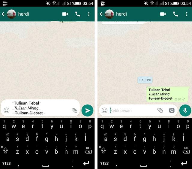 gaya teks whatsapp