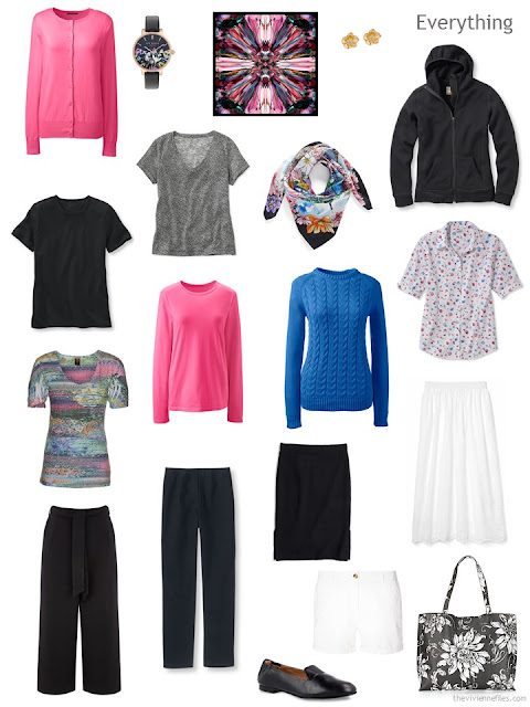 13-piece travel capsule wardrobe in black, white, hot pink and blue