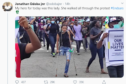 Nigerians raise over 1.6 million Naira in less than 24 hours to get a prosthetic leg for an End SARS protester who didn't let her condition stop her