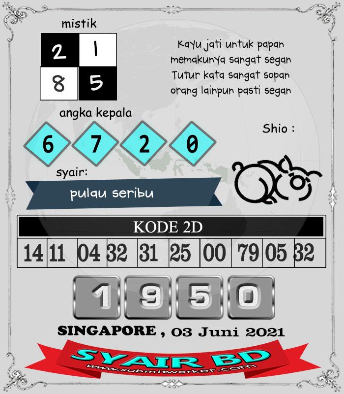 Syair BD Singapore Kamis 03 Juni 2021