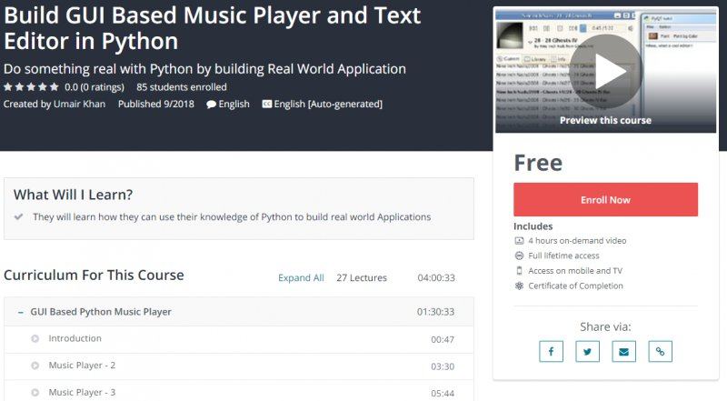 100% Free] Build GUI Based Music Player and Text Editor in Python