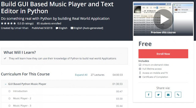[100% Free] Build GUI Based Music Player and Text Editor in Python