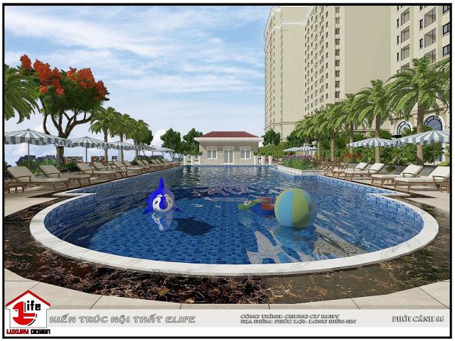 Bể bơi ngoài trời tại Ruby City được thiết kế sang trọng