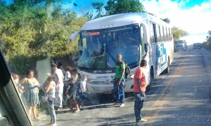 Colisão entre ônibus e caminhão deixa passageira ferida entre Caém e Saúde