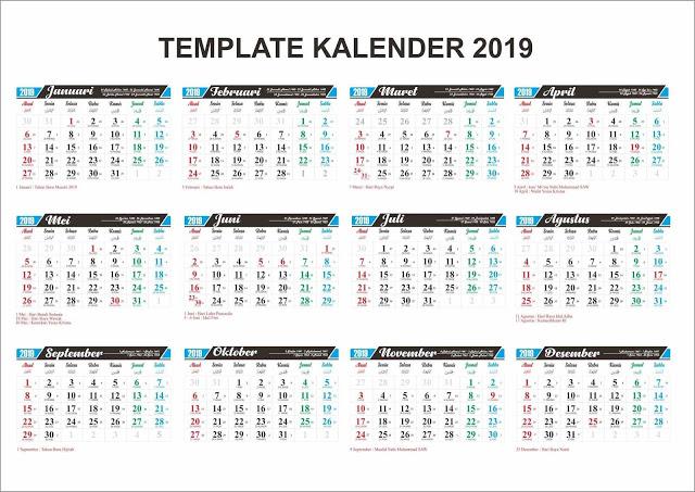 download 10 template kalender 2019 cdr lengkap vector. Black Bedroom Furniture Sets. Home Design Ideas