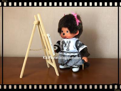 chevalet bois peinture palette miniature kiki monchhichi vintage toys poupée fait main handmade
