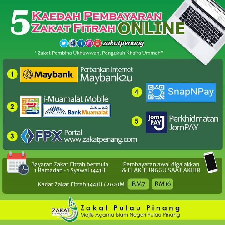 Cara-cara bayar zakat secara online