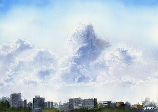 水彩画 夏の雲 Summer Cloud. Watercolor.  江戸川の土手から見た入道雲です。