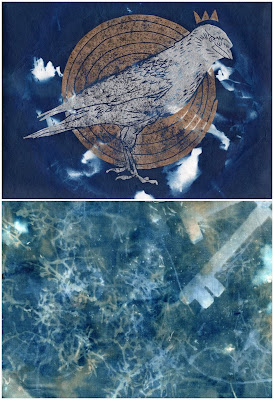 Carmen Wing: Cyanotype Over Lino Print/ Wet Cyanotype and Rust on Fabric