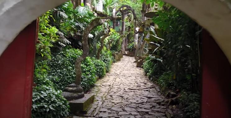 Pasillo con plantas a los lados de ingreso a Xilitla