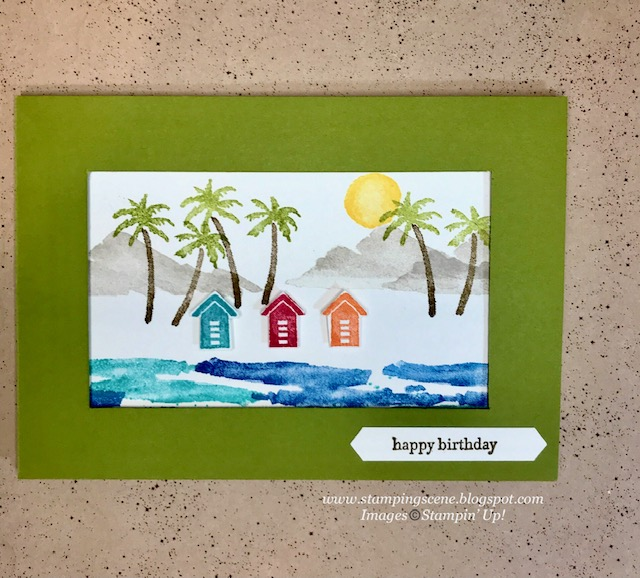 summer holiday handmade card with stampin up waterfront stamp set