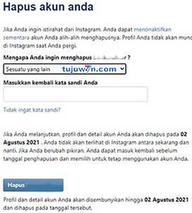 akun instagram (ig) : cara hapus secara permanen link