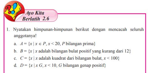 Jawaban Buku Matematika Kelas 7 Ayo Kita Berlatih 2 6 Hal 147 149 Nyatakan Himpunan Pentium Sintesi