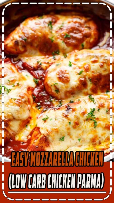 Easy Mozzarella Chicken is a low carb dream! Seasoned chicken simmered in a homemade tomato sauce, topped with melted mozzarella cheese! #healthy #lowcarb #diet