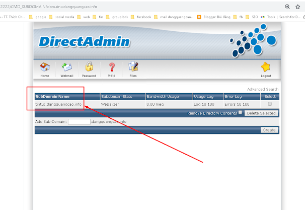 Tạo subdomain trong hosting của bạn và upsource