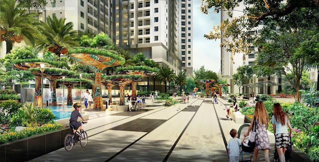 khuôn viên cây xanh tại chung cư Eco Dream