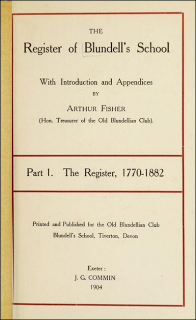 The Register of Blundell's School - Part 1. The Register, 1770-1882
