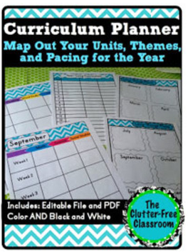 Curriculum planner editable maps pacing guide lesson for Pacing calendar template for teachers