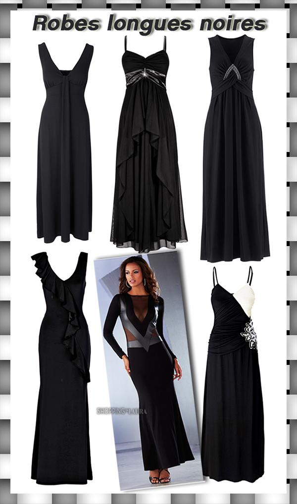 Sélection robes longues de soirée noire BONPRIX