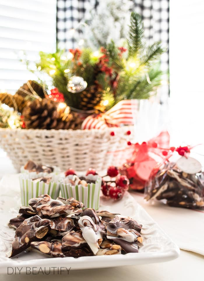 holiday recipe - marbled chocolate almond bark with toasted almonds