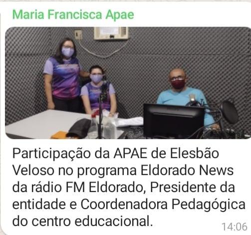 Presidente da APAE de Elesbão Veloso fala sobre a Semana Nacional da Pessoa com Deficiência Intelectual e Múltipla.